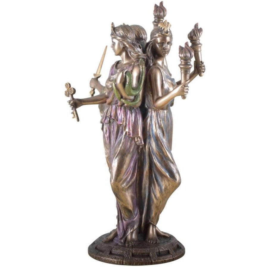 Hekate, Hexengöttin aus Polyresin, bronziert-3
