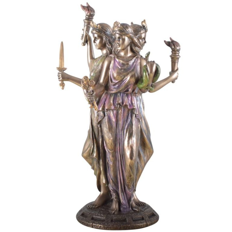 Hekate, Hexengöttin aus Polyresin, bronziert-4