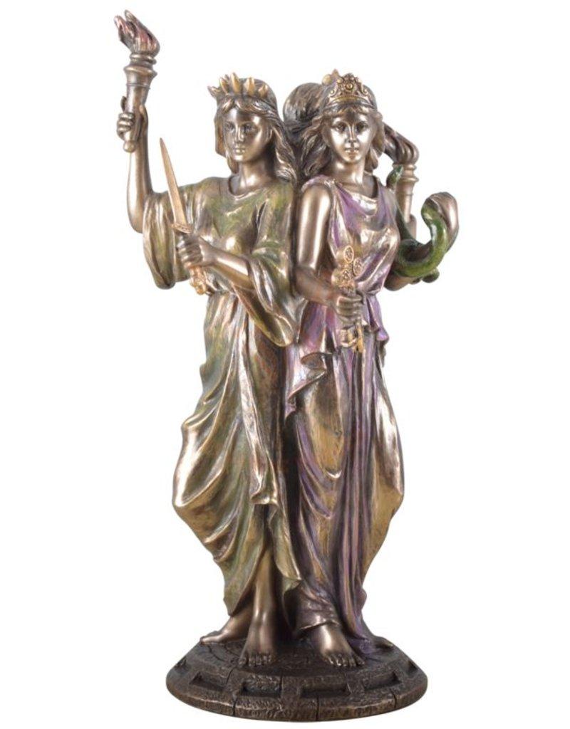 Göttin Hekate, Hexengöttin aus Polyresin, bronziert