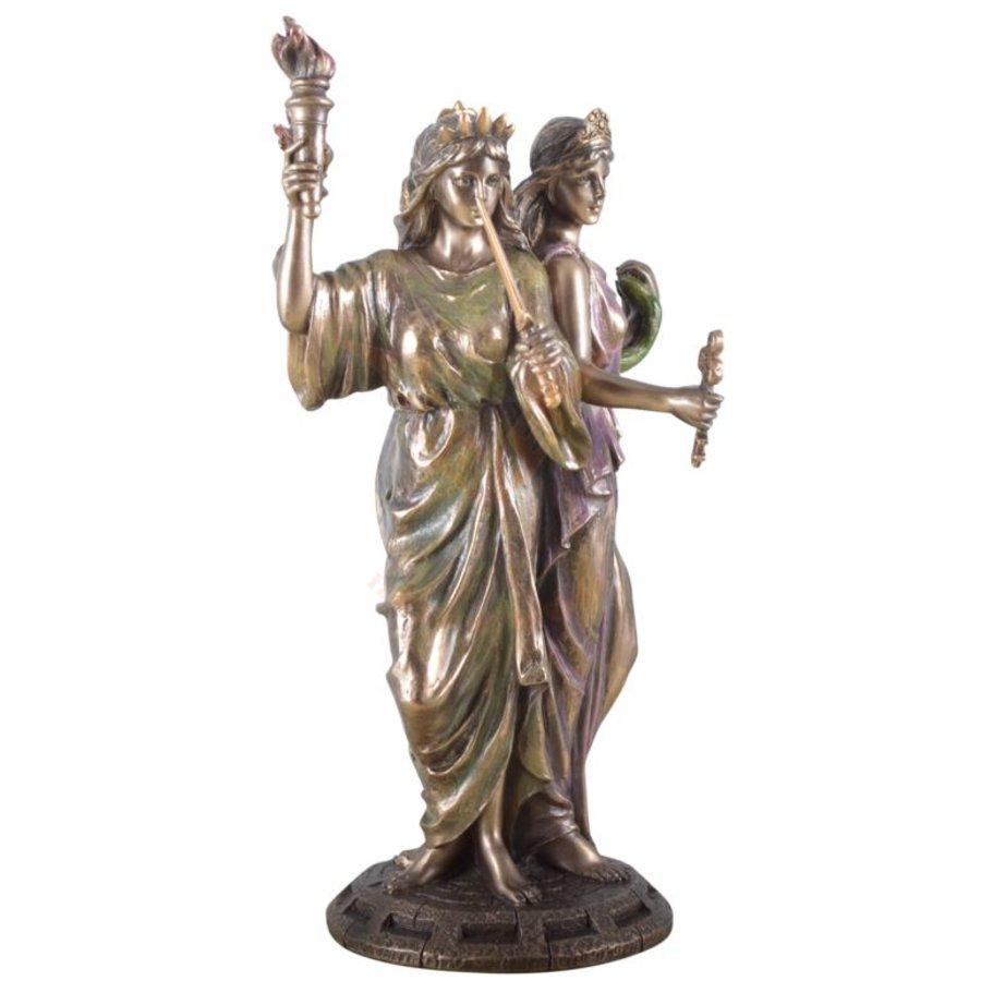 Hekate, Hexengöttin aus Polyresin, bronziert-5