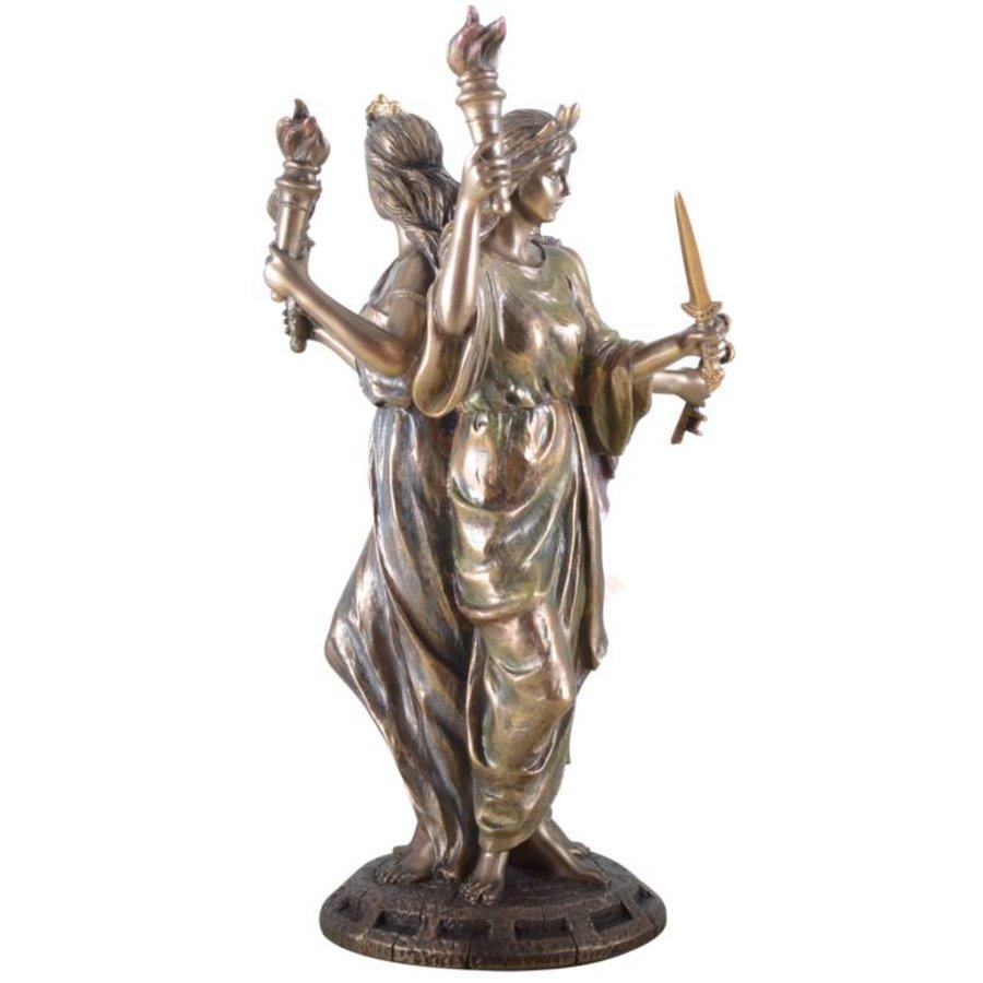 Hekate, Hexengöttin aus Polyresin, bronziert-6