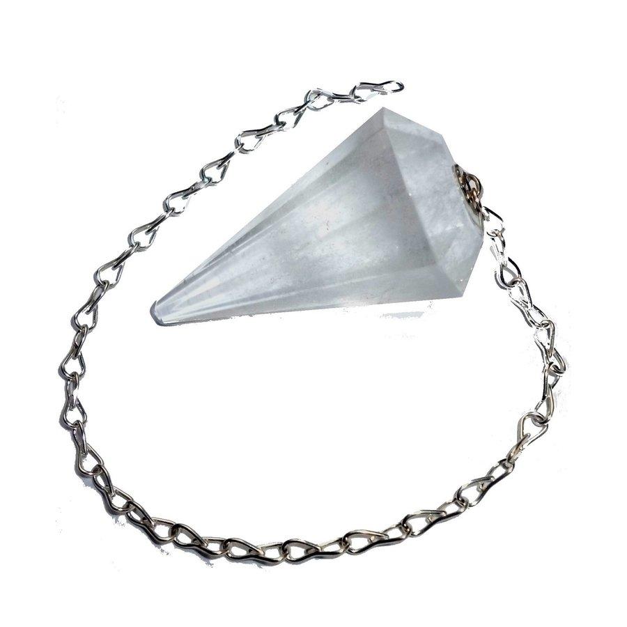 Bergkristall Pendel mit Silberkette-1