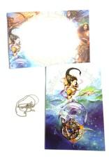 Elementtalisman mit Grußkarte und Umschlag
