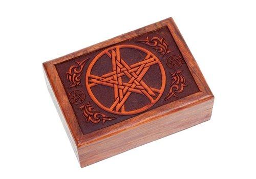 Tarot Kästchen mit geschnitztem Pentagramm