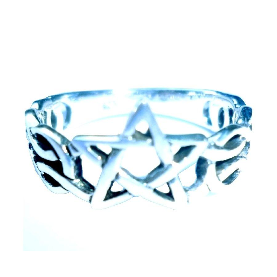 Ring mit Pentagramm, 925 Sterling Silber-3