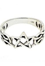 Pentagramme Ring mit Pentagramm, 925 Sterling Silber