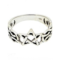 thumb-Ring mit Pentagramm, 925 Sterling Silber-2