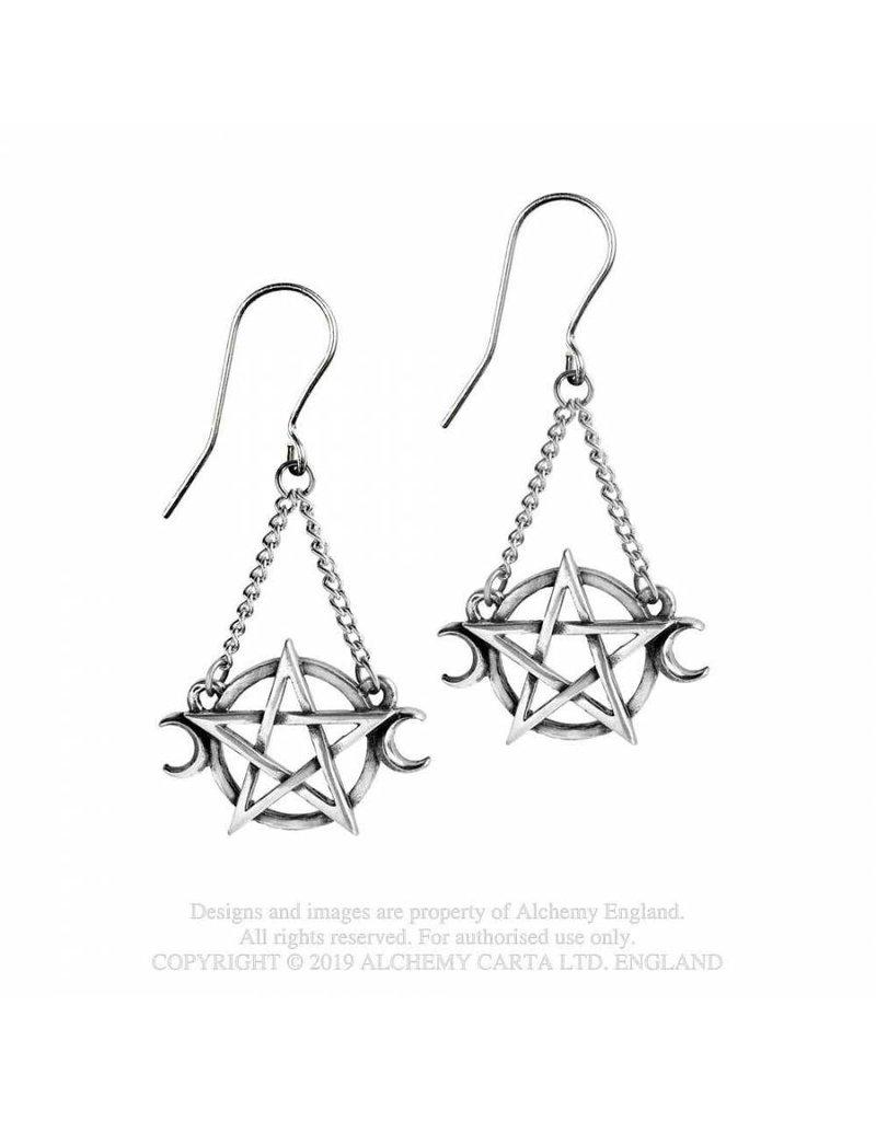 Alchemy Pentagramm Ohrringe aus Zinn