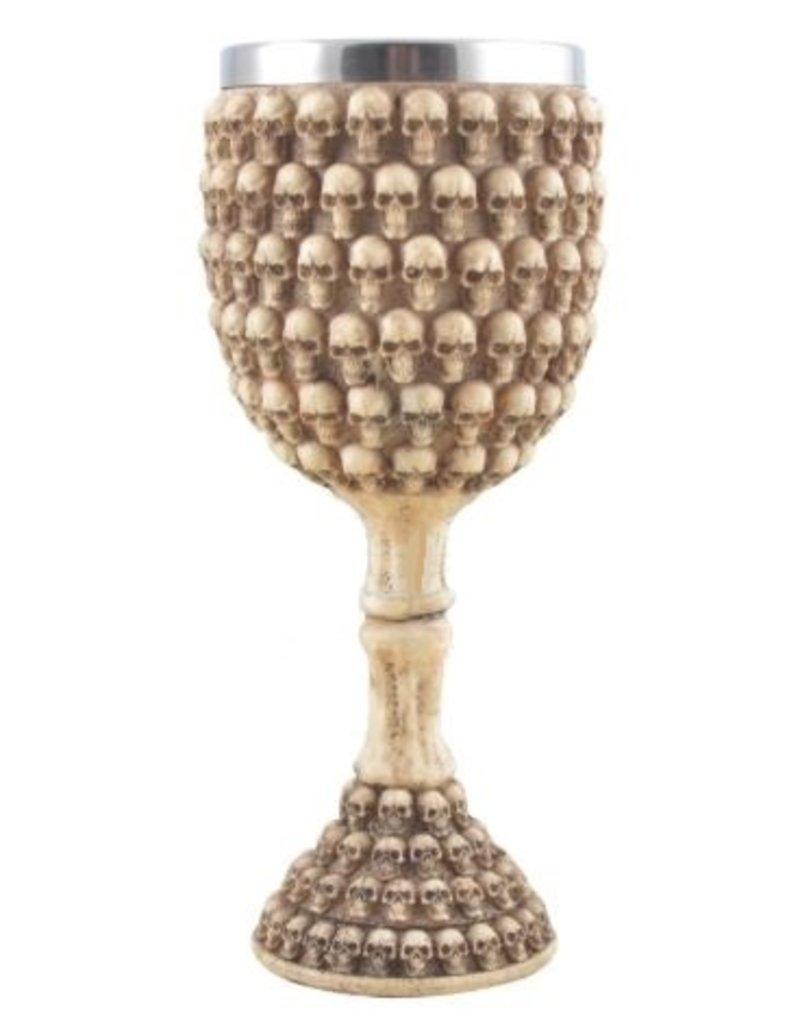 Ritualbedarf Altar Kelch mit Totenköpfen
