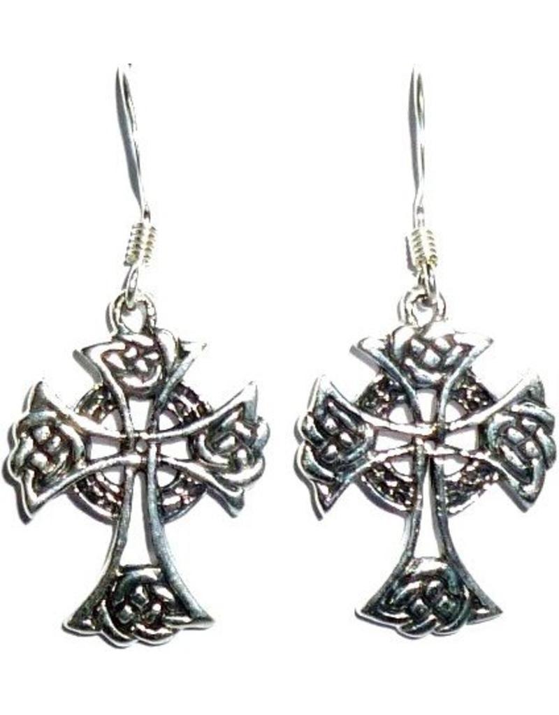 Ohrhänger mit keltischem Kreuz, 925-Silber