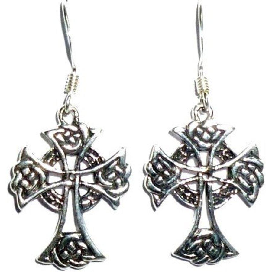 Ohrhänger mit keltischem Kreuz, 925-Silber-2