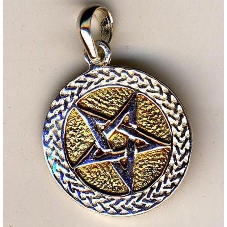 Pentagramm Anhänger aus Bronze, versilbert-3