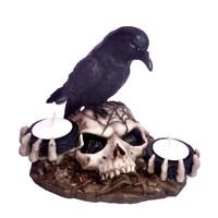 thumb-Kerzenhalter Rabe auf Totenschädel 2 Teelichtern-2