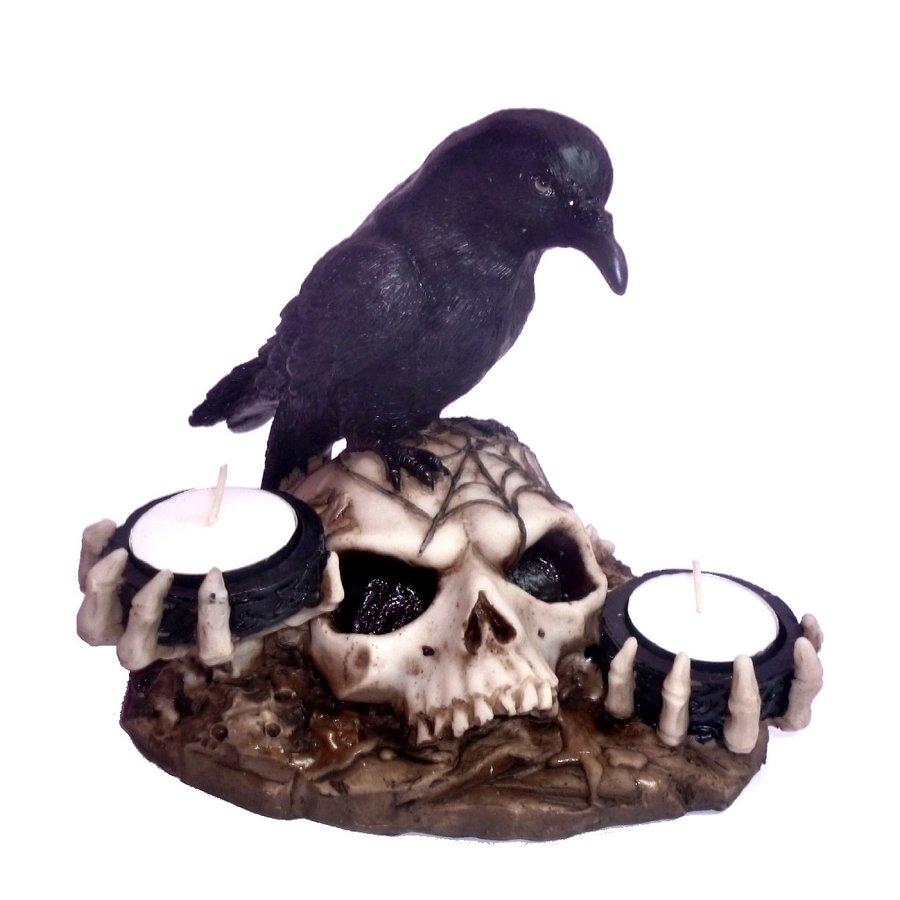 Kerzenhalter Rabe auf Totenschädel 2 Teelichtern-2