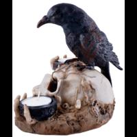 thumb-Kerzenhalter Rabe auf Totenschädel 2 Teelichtern-6