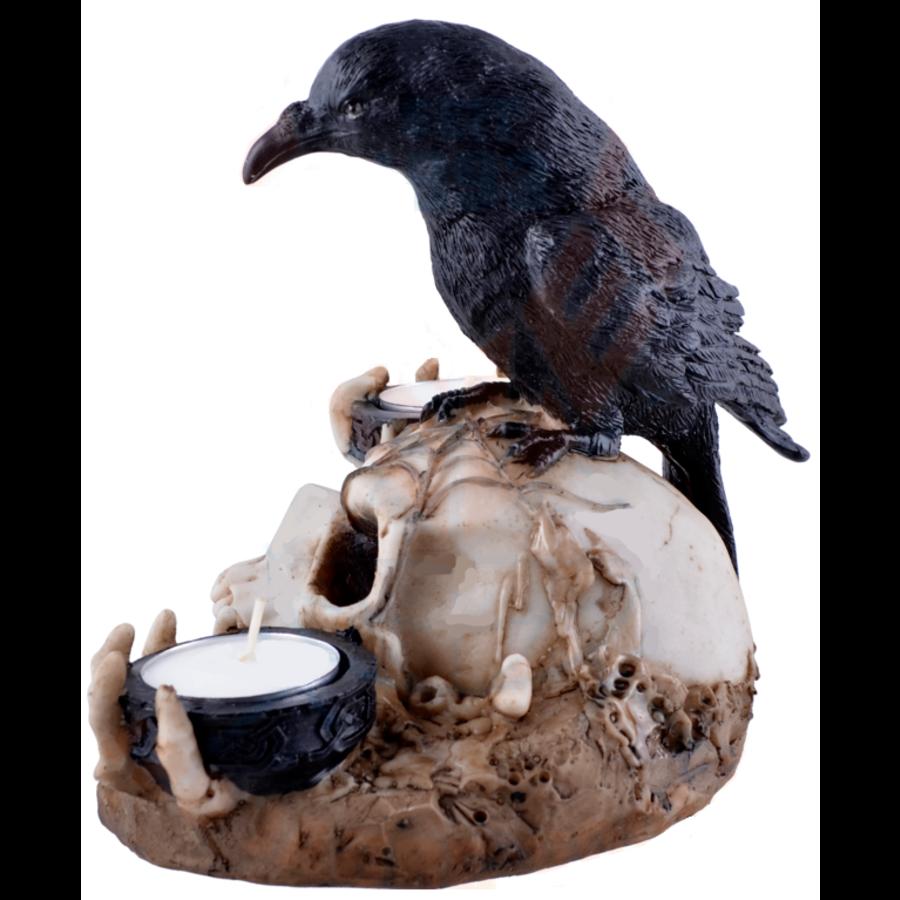 Kerzenhalter Rabe auf Totenschädel 2 Teelichtern-6