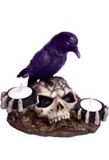 Kerzenhalter Rabe auf Totenschädel 2 Teelichtern