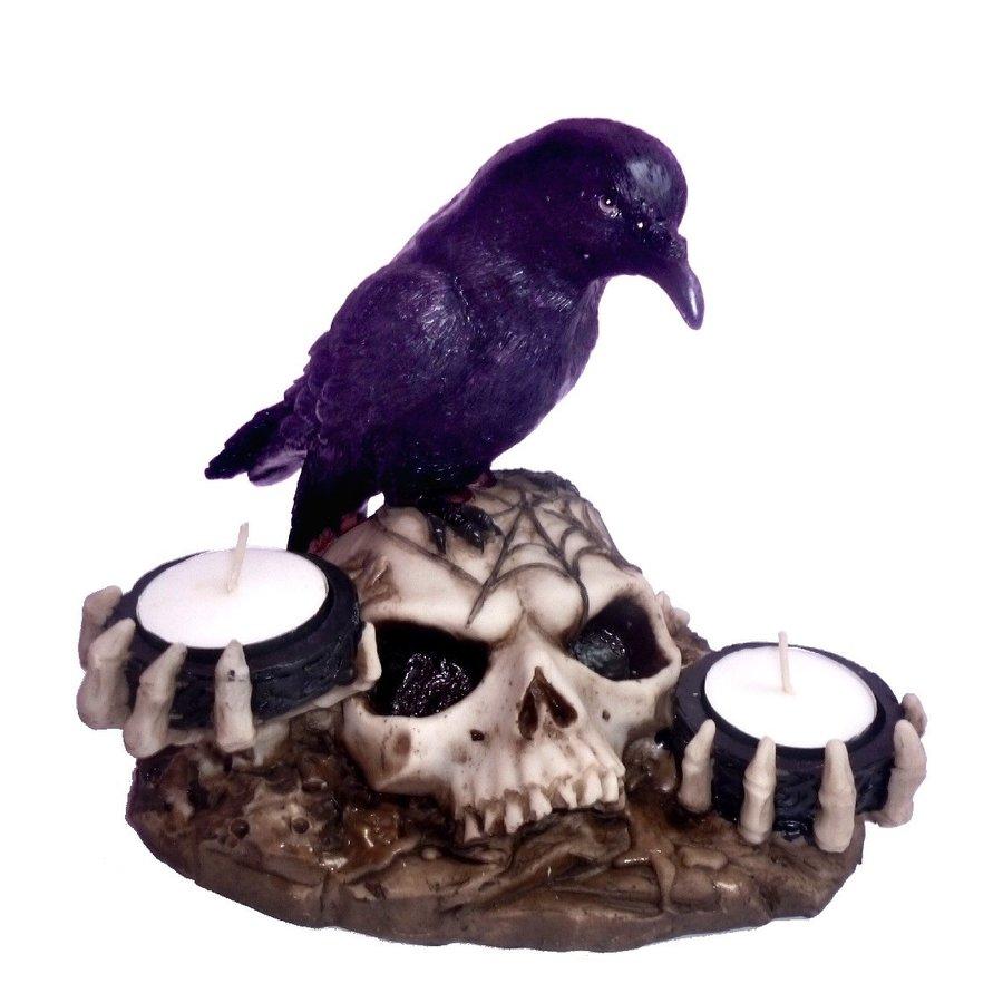 Kerzenhalter Rabe auf Totenschädel 2 Teelichtern-1