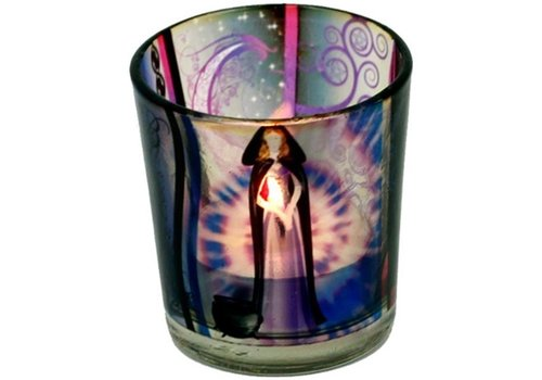 Glas für Kerzen mit Wicca Elfe