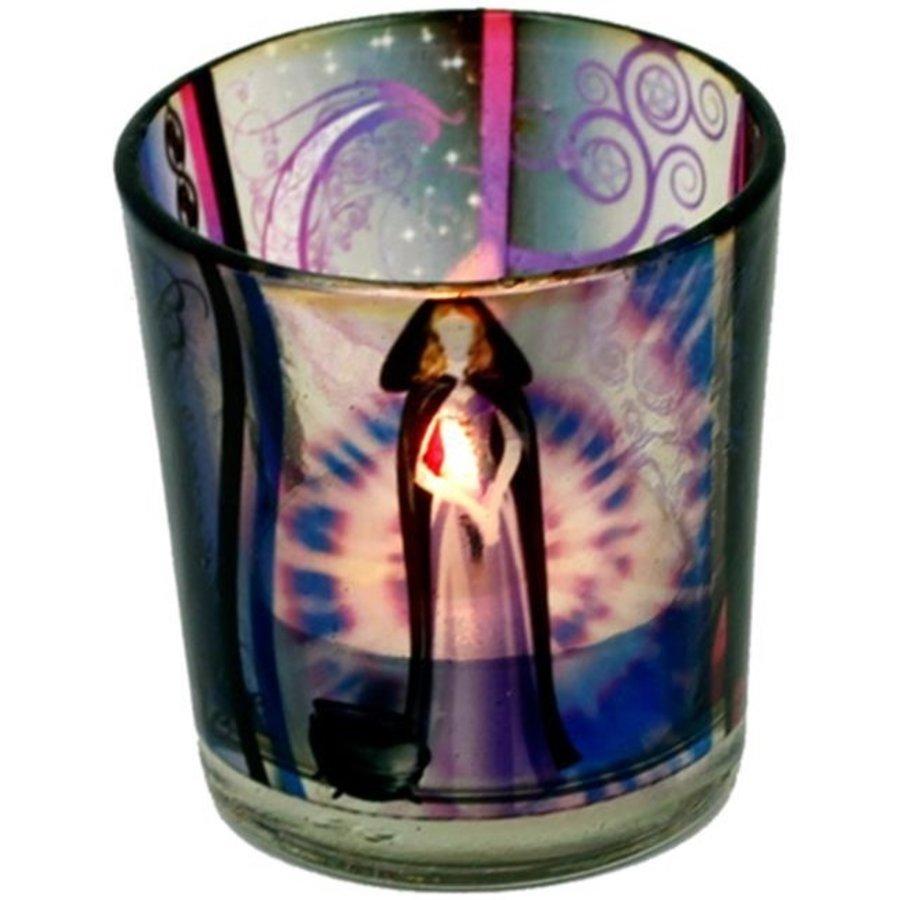 Teelichtgläser auch für Votivkerzen mit Wicca Elfe-1
