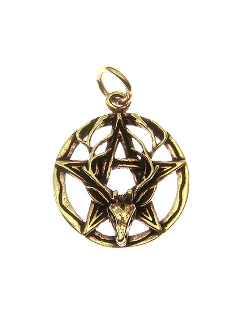 Pentagramm Anhänger aus Bronze mit Cernunnos