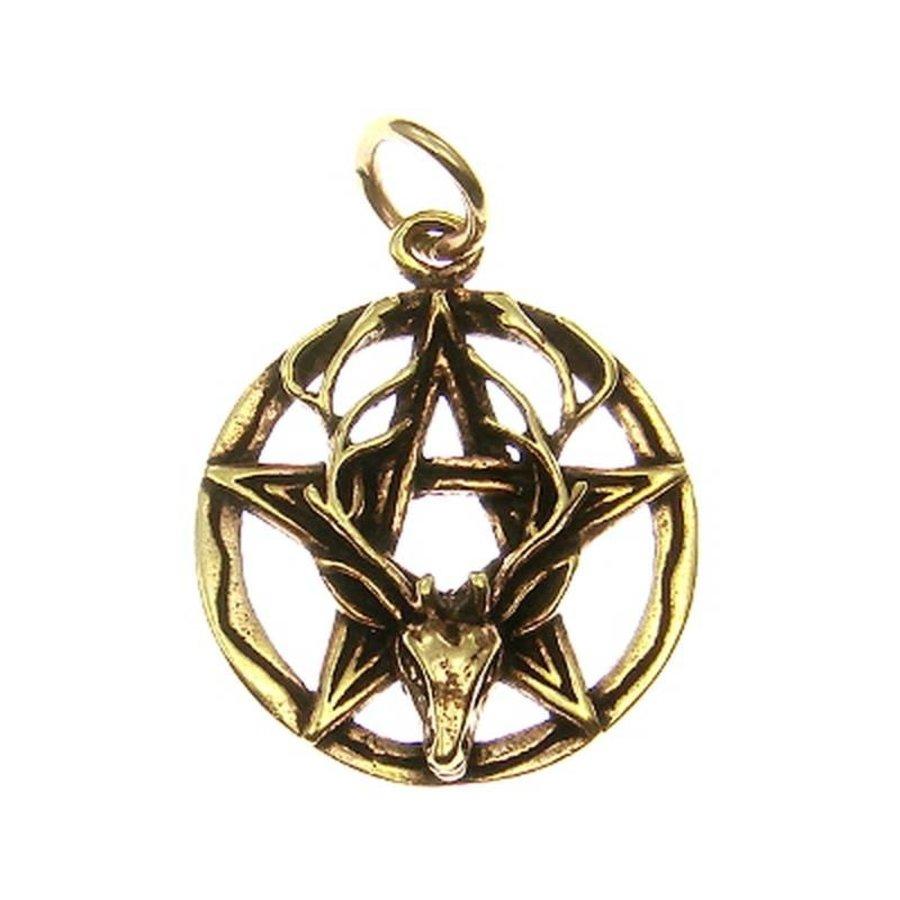 Pentagramm Anhänger aus Bronze mit Cernunnos-1