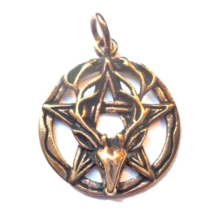 Pentagramm Anhänger aus Bronze mit Cernunnos-3