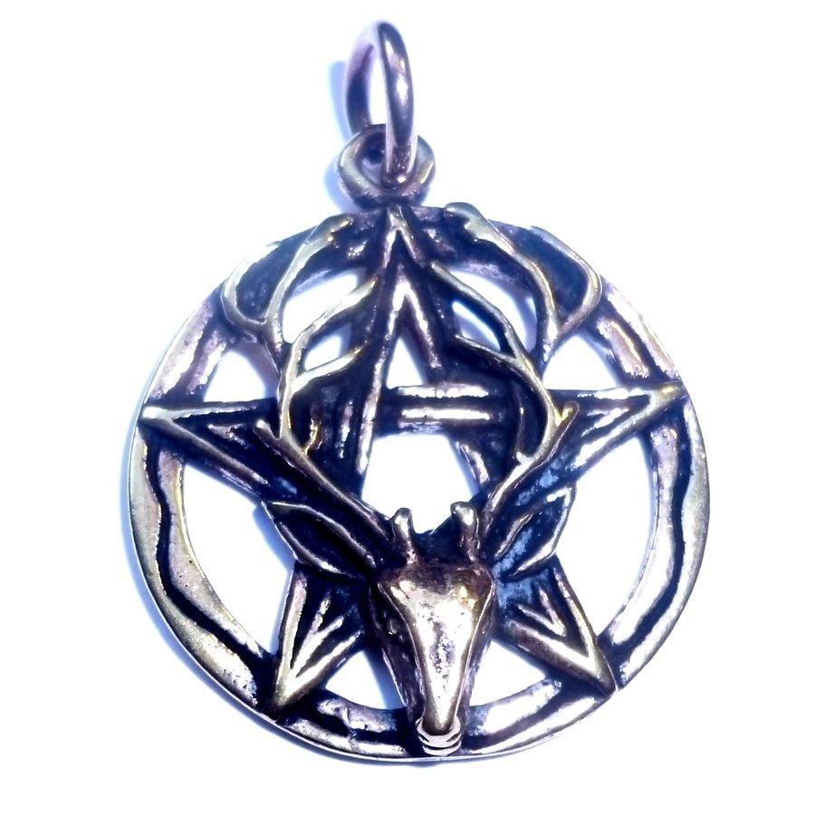 Pentagramm Anhänger aus Bronze mit Cernunnos-2