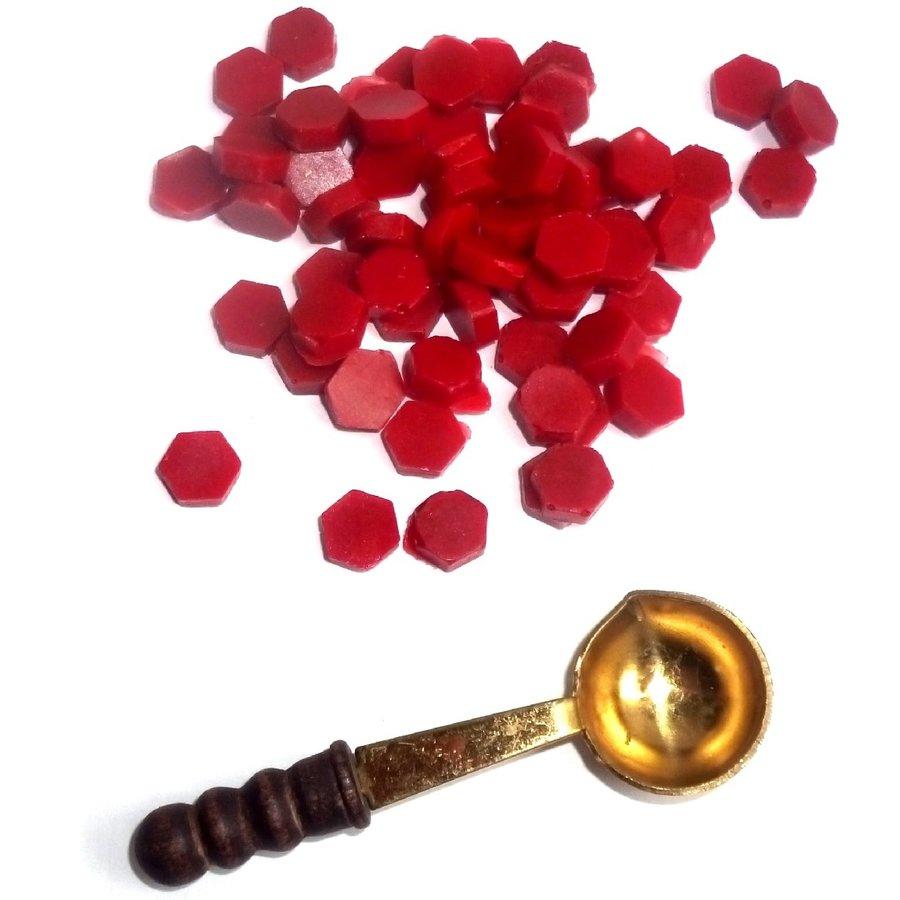 Siegewachsperlen rot, mit Schmelz-Löffelchen-2