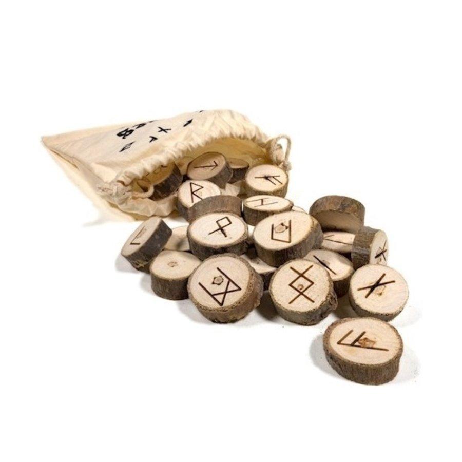 Holz Runenset Holz im Baumwollbeutel-2