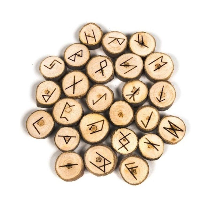 Holz Runenset Holz im Baumwollbeutel-1