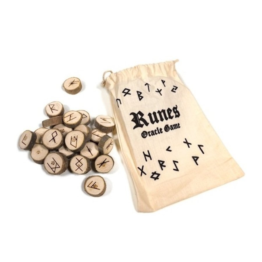 Holz Runenset Holz im Baumwollbeutel-3