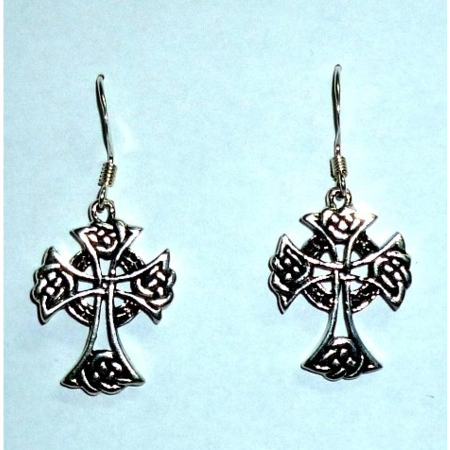 Ohrhänger mit keltischem Kreuz, 925-Silber-3
