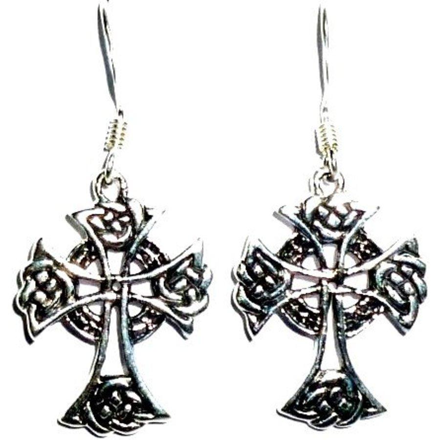 Ohrhänger mit keltischem Kreuz, 925-Silber-1