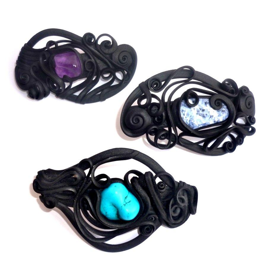 Haarclips mit Halbedelsteinen - mit Clip-2