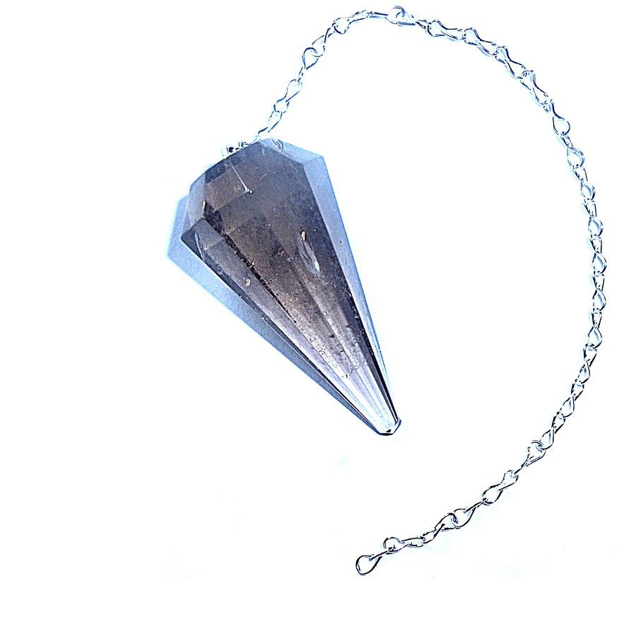 Rauchquarz  Pendel mit Silberkette-3