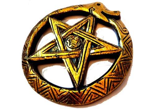 Wandrelief Holz geschnitzt Schlangen Pentagramm
