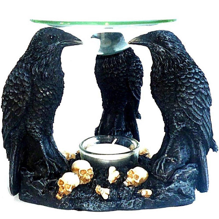 Duftlampe Aromalampe mit drei Raben-2
