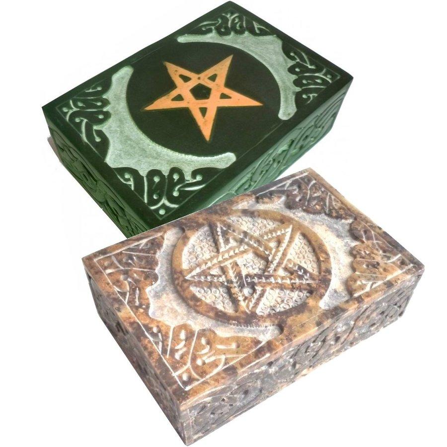 Speckstein Dose mit Pentagramm oder Triquetra-3