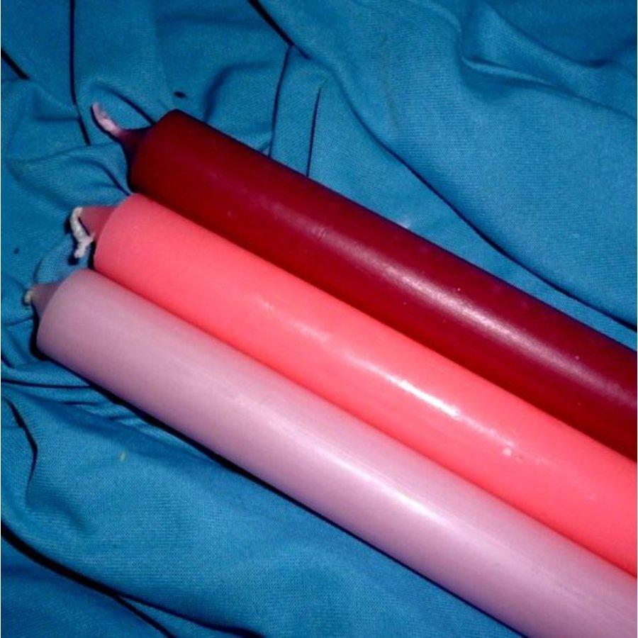 Stabkerze, verschiedene Rosatöne-5