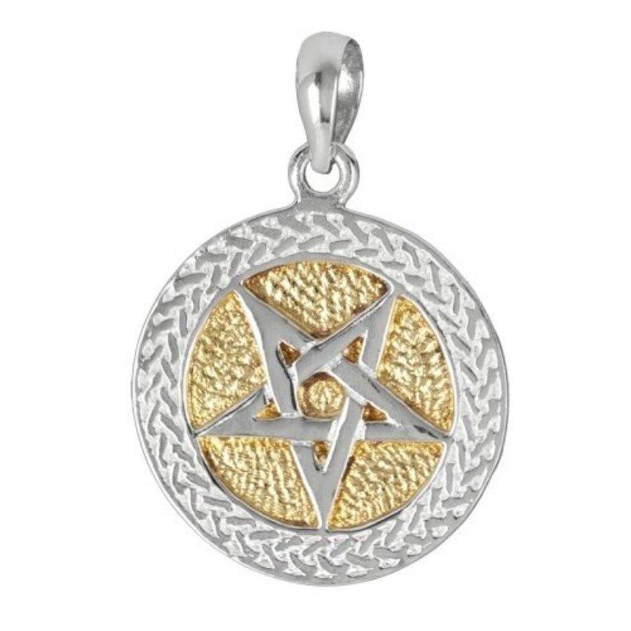 Pentagramm Anhänger aus Bronze, versilbert-2