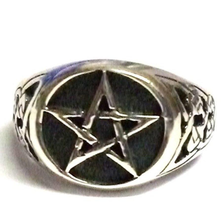 Ring mit Pentagramm, 925 Sterling Silber,-2