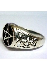 Pentagramme Ring mit Pentagramm, 925 Sterling Silber,