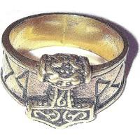 thumb-Bronze Thor Hammer Ring mit Runen-6
