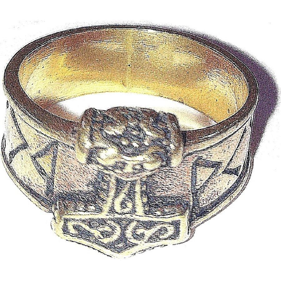 Bronze Thor Hammer Ring mit Runen-6