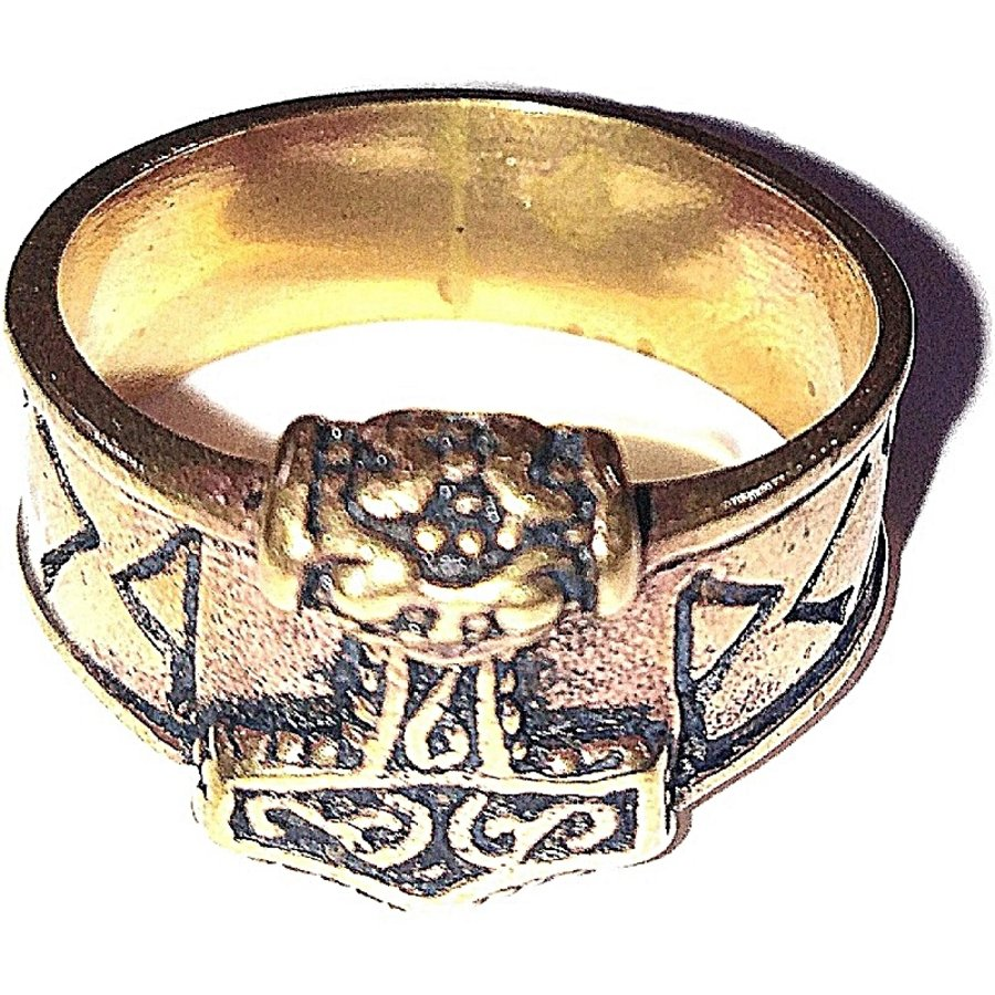 Bronze Thor Hammer Ring mit Runen-2