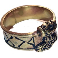 thumb-Bronze Thor Hammer Ring mit Runen-8