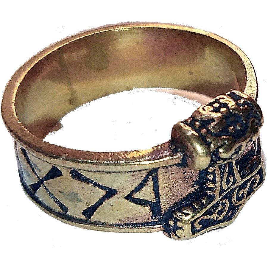 Bronze Thor Hammer Ring mit Runen-8
