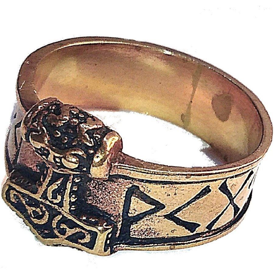 Bronze Thor Hammer Ring mit Runen-1