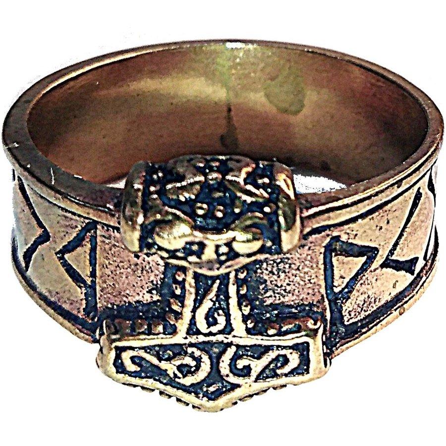 Bronze Thor Hammer Ring mit Runen-9